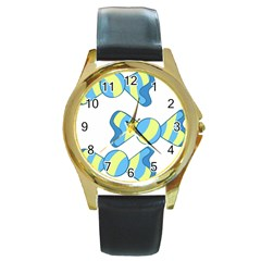 Candy Yellow Blue Round Gold Metal Watch