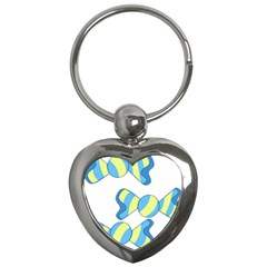 Candy Yellow Blue Key Chains (heart)
