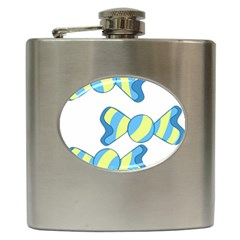 Candy Yellow Blue Hip Flask (6 oz)