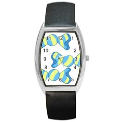 Candy Yellow Blue Barrel Style Metal Watch