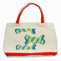 Candy Yellow Blue Classic Tote Bag (Red)