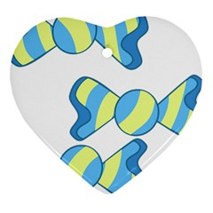 Candy Yellow Blue Heart Ornament (Two Sides)
