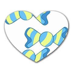 Candy Yellow Blue Heart Mousepads