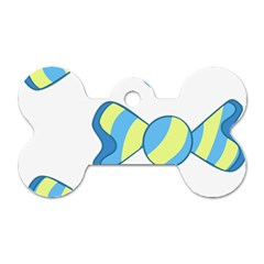 Candy Yellow Blue Dog Tag Bone (Two Sides)