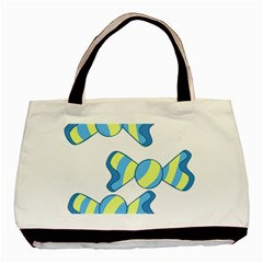 Candy Yellow Blue Basic Tote Bag (two Sides)