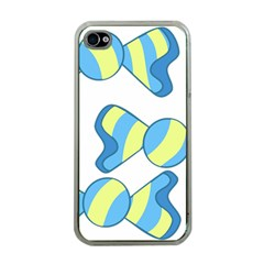 Candy Yellow Blue Apple iPhone 4 Case (Clear)