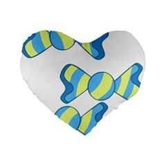 Candy Yellow Blue Standard 16  Premium Flano Heart Shape Cushions