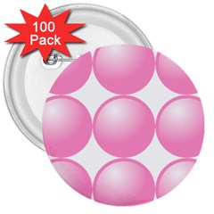 Circle Pink 3  Buttons (100 Pack)