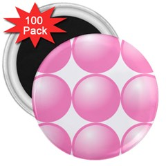 Circle Pink 3  Magnets (100 Pack)