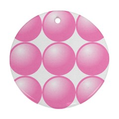 Circle Pink Round Ornament (two Sides)