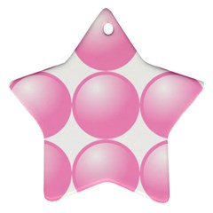 Circle Pink Star Ornament (two Sides)