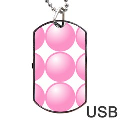 Circle Pink Dog Tag USB Flash (One Side)