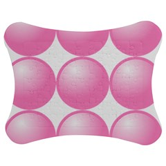 Circle Pink Jigsaw Puzzle Photo Stand (Bow)