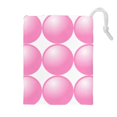 Circle Pink Drawstring Pouches (Extra Large)