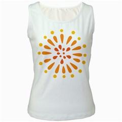 Circle Orange Women s White Tank Top