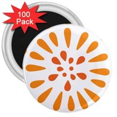Circle Orange 3  Magnets (100 Pack)