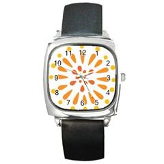 Circle Orange Square Metal Watch