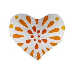 Circle Orange Standard 16  Premium Heart Shape Cushions