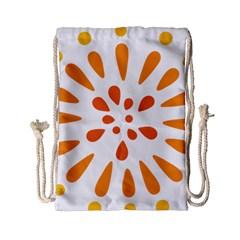 Circle Orange Drawstring Bag (Small)