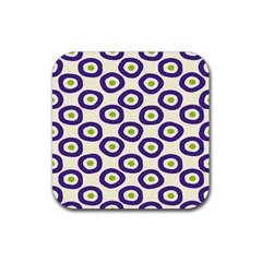 Circle Purple Green White Rubber Coaster (Square)