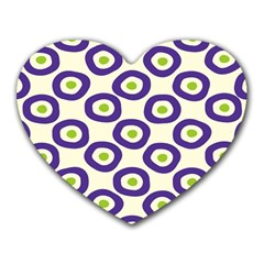 Circle Purple Green White Heart Mousepads