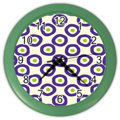 Circle Purple Green White Color Wall Clocks