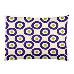 Circle Purple Green White Pillow Case (Two Sides)