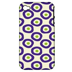 Circle Purple Green White Apple iPhone 4/4S Hardshell Case (PC+Silicone)