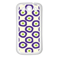 Circle Purple Green White Samsung Galaxy S3 Back Case (White)