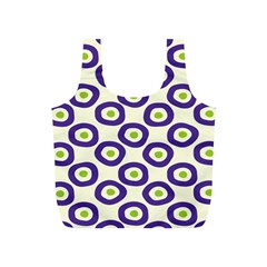 Circle Purple Green White Full Print Recycle Bags (S)