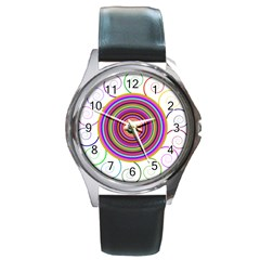 Abstract Spiral Circle Rainbow Color Round Metal Watch