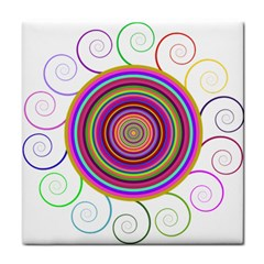 Abstract Spiral Circle Rainbow Color Tile Coasters