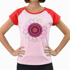 Abstract Spiral Circle Rainbow Color Women s Cap Sleeve T-Shirt