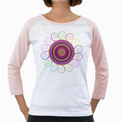 Abstract Spiral Circle Rainbow Color Girly Raglans