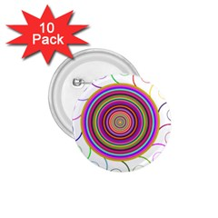 Abstract Spiral Circle Rainbow Color 1.75  Buttons (10 pack)