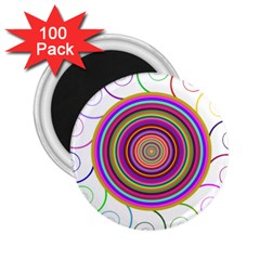 Abstract Spiral Circle Rainbow Color 2.25  Magnets (100 pack)