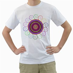 Abstract Spiral Circle Rainbow Color Men s T-Shirt (White) (Two Sided)