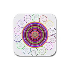 Abstract Spiral Circle Rainbow Color Rubber Coaster (Square)