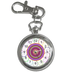 Abstract Spiral Circle Rainbow Color Key Chain Watches