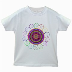Abstract Spiral Circle Rainbow Color Kids White T-Shirts