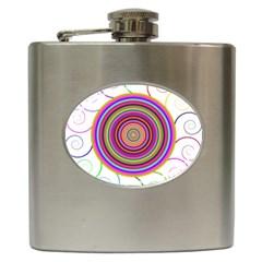 Abstract Spiral Circle Rainbow Color Hip Flask (6 oz)