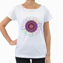 Abstract Spiral Circle Rainbow Color Women s Loose-Fit T-Shirt (White)