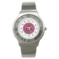 Abstract Spiral Circle Rainbow Color Stainless Steel Watch