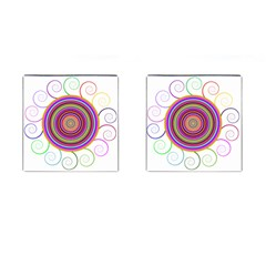 Abstract Spiral Circle Rainbow Color Cufflinks (Square)