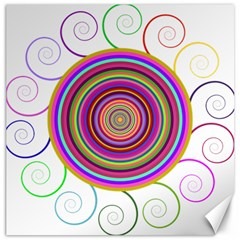 Abstract Spiral Circle Rainbow Color Canvas 16  x 16