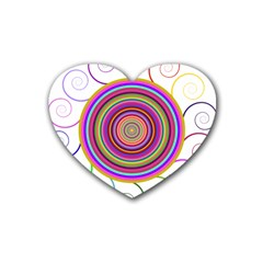 Abstract Spiral Circle Rainbow Color Heart Coaster (4 pack)