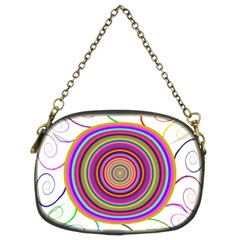 Abstract Spiral Circle Rainbow Color Chain Purses (Two Sides)