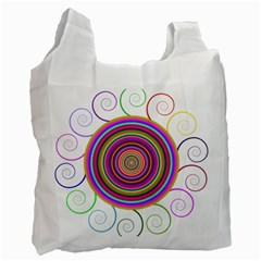 Abstract Spiral Circle Rainbow Color Recycle Bag (Two Side)