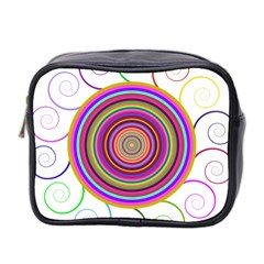 Abstract Spiral Circle Rainbow Color Mini Toiletries Bag 2-Side