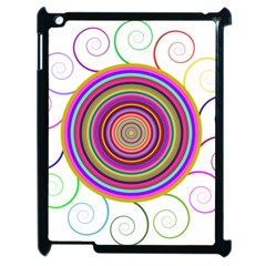 Abstract Spiral Circle Rainbow Color Apple iPad 2 Case (Black)